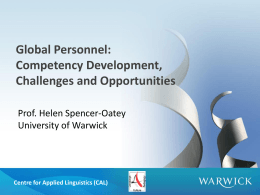 Global Personnel: Competency Development, Challenges and Opportunities