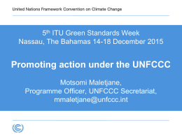 Promoting action under the UNFCCC