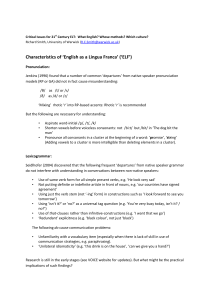Characteristics of 'English as a Lingua Franca' ('ELF')