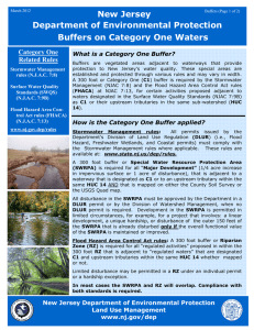 New Jersey Department of Environmental Protection Buffers on Category One Waters Category One