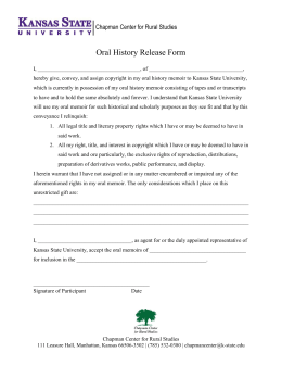 | Oral History Release Form Chapman Center for Rural Studies