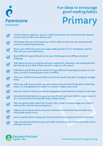 Primary Fun ideas to encourage good reading habits