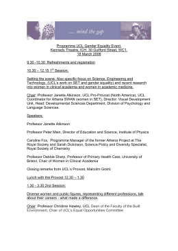 Programme UCL Gender Equality Event. 18 March 2008