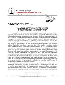 PROCESSING TIP . . . Cooperative Extension Service USDA-FOOD SAFETY INSPECTION SERVICE