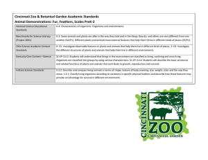 Cincinnati Zoo & Botanical Garden Academic Standards