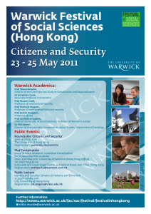 Warwick Festival of Social Sciences (Hong Kong) Citizens and Security