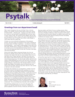 Psytalk Greetings from our department head!