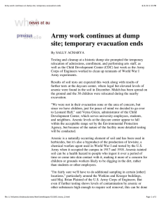 Army work continues at dump site; temporary evacuation ends
