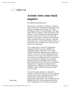 Arsenic tests come back negative