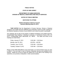 PUBLIC NOTICE  STATE OF NEW JERSEY DEPARTMENT OF HUMAN SERVICES