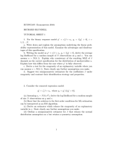 ECONG107: Econometrics 2016: RICHARD BLUNDELL TUTORIAL SHEET 1