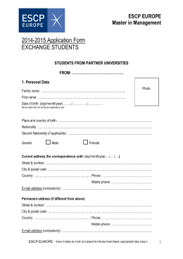 2014-2015 Application Form EXCHANGE STUDENTS ESCP EUROPE Master in Management