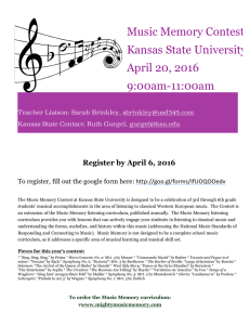 Music Memory Contest Kansas State University April 20, 2016 9:00am-11:00am