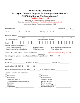 Kansas State University Developing Scholars Program for Undergraduate Research (DSP) Application (freshmen-juniors)