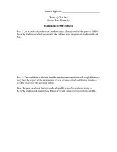 Security Studies Statement of Objectives