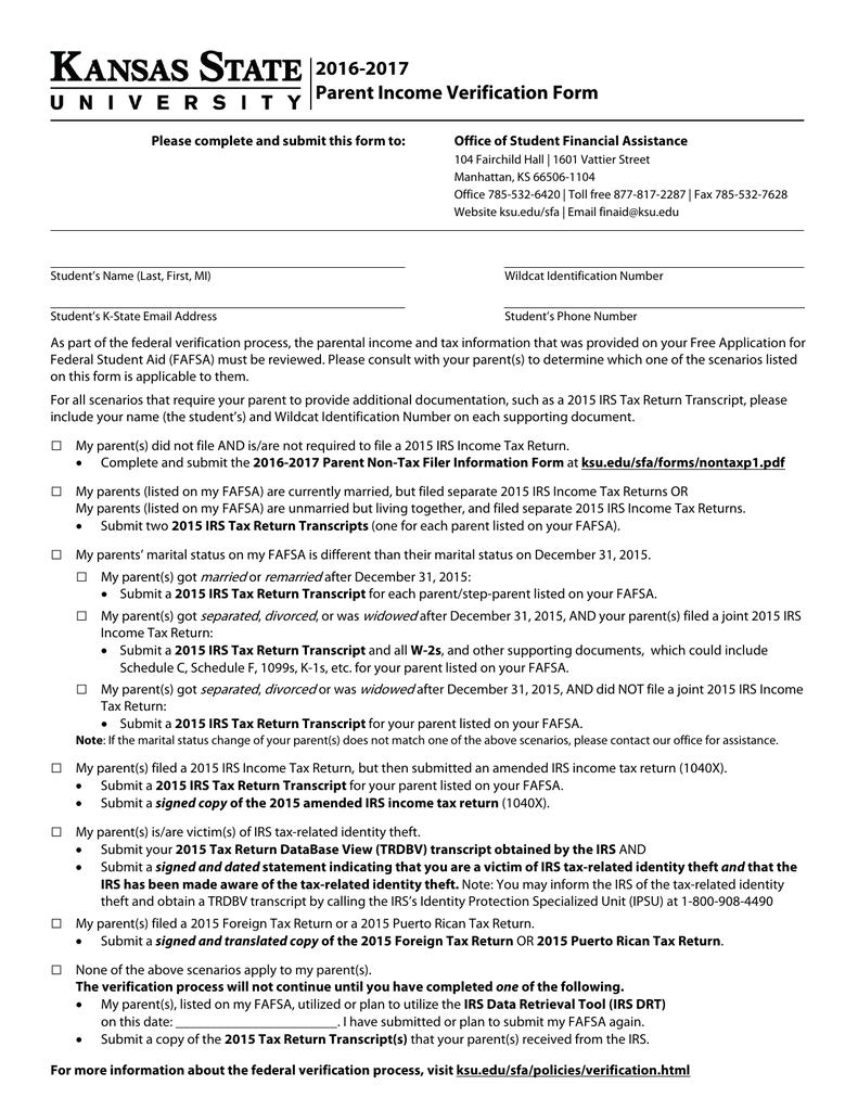 2016 2017 parent income verification form falaconquin