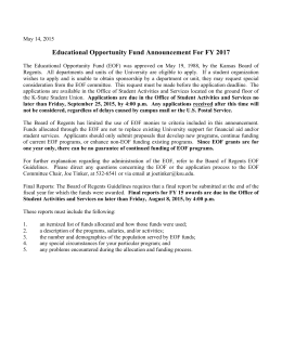 Educational Opportunity Fund Announcement For FY 2017