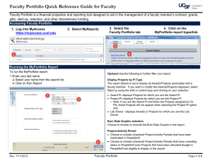 Faculty Portfolio Quick Reference Guide for Faculty