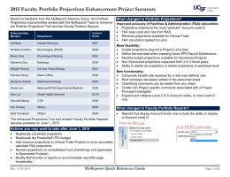 2015 Faculty Portfolio Projections Enhancement Project Summary