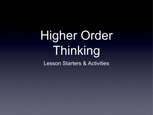Higher Order Thinking Lesson Starters & Activities