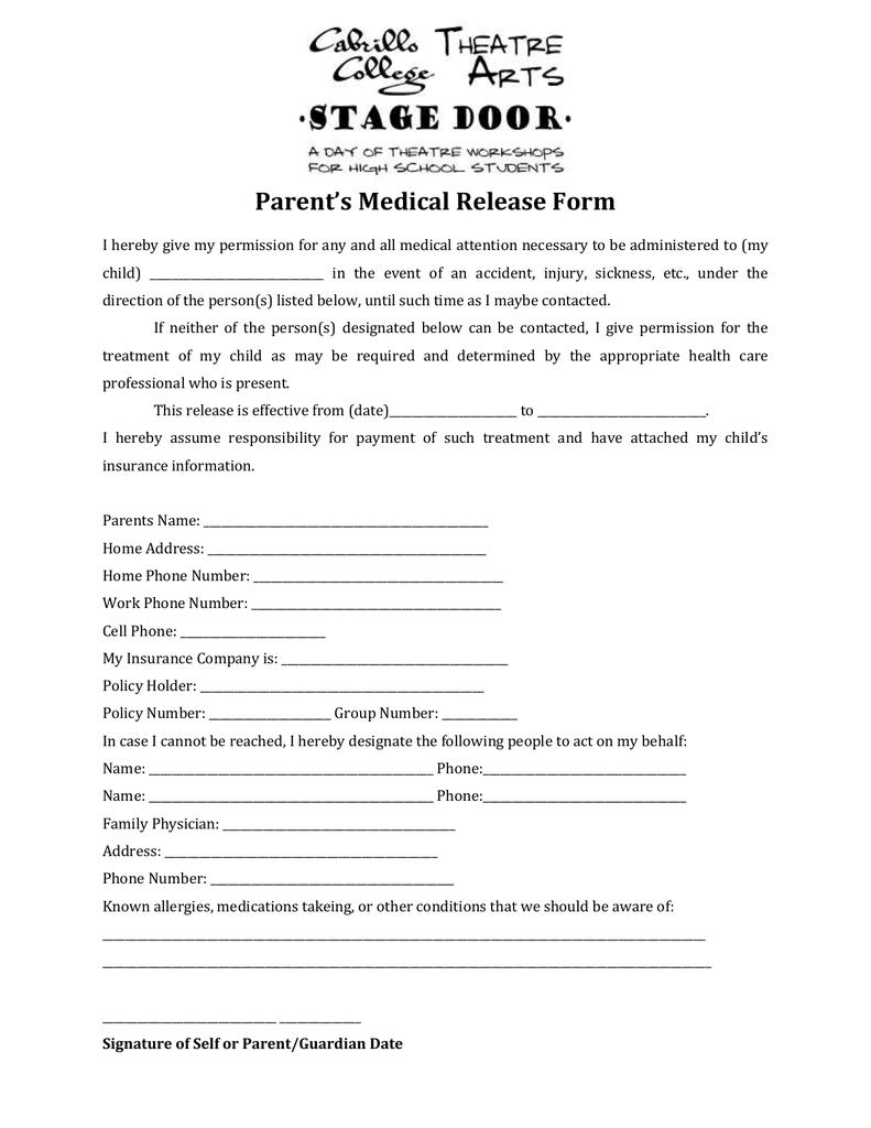 Parent's Medical Release Form