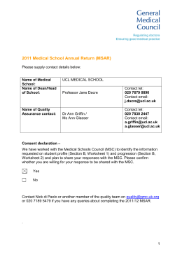 2011 Medical School Annual Return (MSAR)