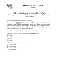 Assessment Center ESL Reading Comprehension Sample Test