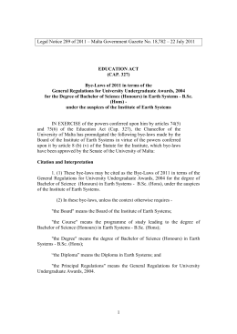 Legal Notice 289 of 2011 – Malta Government Gazette No....  EDUCATION ACT (CAP. 327)