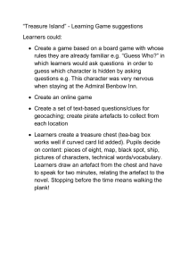 """Treasure Island"" - Learning Game suggestions Learners could: "
