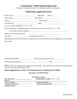 Community Youth Scholarship Fund Scholarship Application Form