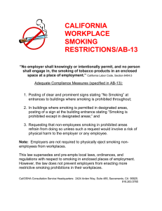 CALIFORNIA WORKPLACE SMOKING RESTRICTIONS/AB-13