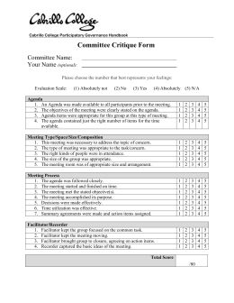 Committee Critique Form Committee Name:  Your Name