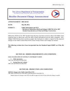 Baseline Document Change Announcement New Jersey Department of Transportation
