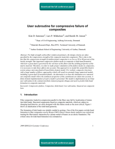 User subroutine for compressive failure of composites Kim D. Sørensen