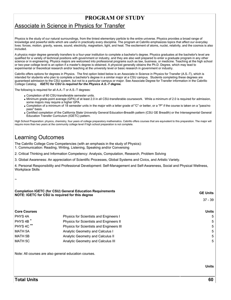 Program Of Study Associate In Science In Physics For Transfer