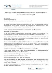 WSIS+10 High-Level Policy Statement of dr. Monika Karas, President of... Infocommunications Authority, Hungary