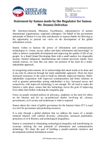 Statement by Samoa made by the Regulator for Samoa