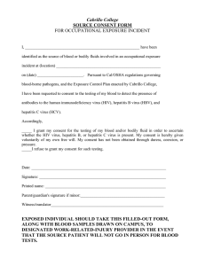 Cabrillo College SOURCE CONSENT FORM FOR OCCUPATIONAL EXPOSURE INCIDENT