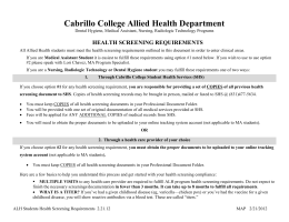Cabrillo College Allied Health Department HEALTH SCREENING REQUIREMENTS