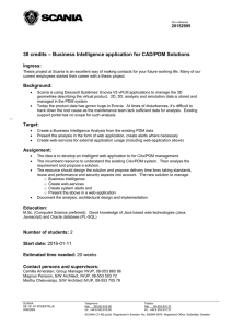 – Business Intelligence application for CAD/PDM Solutions 30 credits Ingress:
