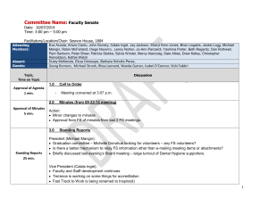 Committee Name:  Faculty Senate Date:  10/07/2014