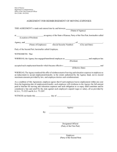 AGREEMENT FOR REIMBURSEMENT OF MOVING EXPENSES