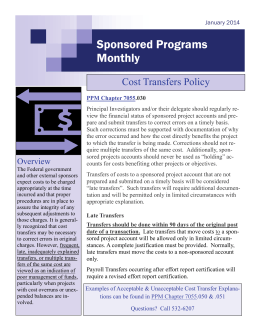 Sponsored Programs Monthly Cost Transfers Policy