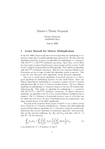 Master's Thesis Proposal 1 Lower Bounds for Matrix Multiplication Tommy Färnqvist