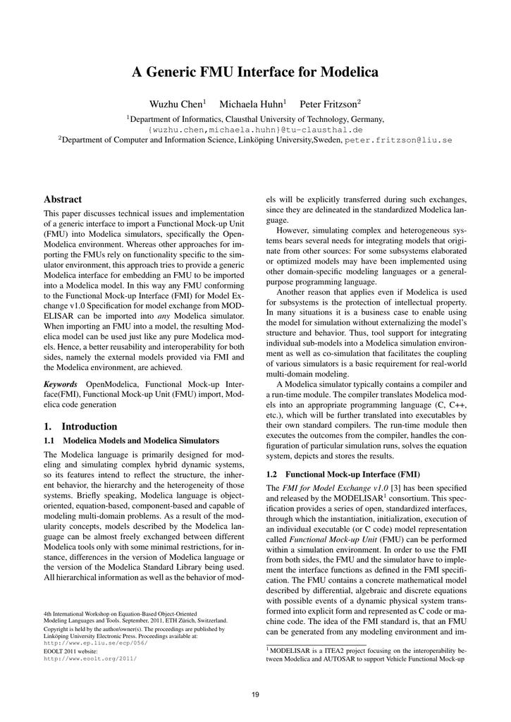 A Generic FMU Interface for Modelica Wuzhu Chen Michaela