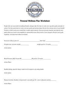 Personal Wellness Plan Worksheet