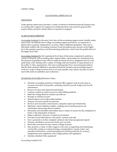 Cabrillo College  ACCOUNTING ASSISTANT I/II DEFINITION