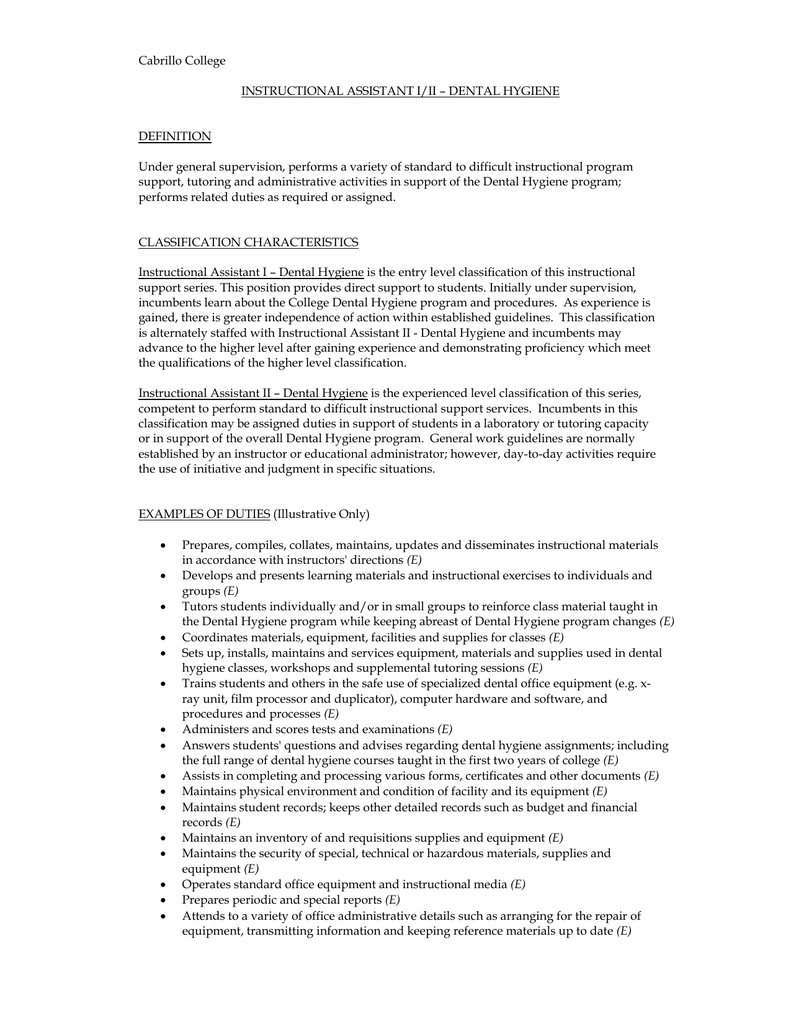 Cabrillo College Instructional Assistant Iii Dental Hygiene