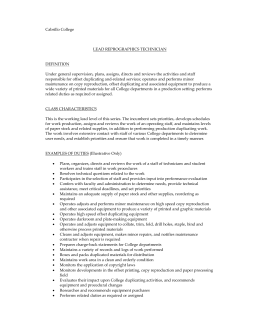 Cabrillo College LEAD REPROGRAPHICS TECHNICIAN DEFINITION