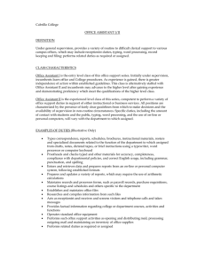 Cabrillo College OFFICE ASSISTANT I/II DEFINITION